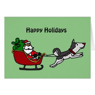 Funny Christmas Sleigh with Husky Dog Pulling Card