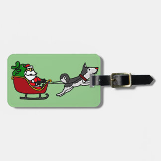 Funny Christmas Sleigh with Husky Dog Pulling Luggage Tag