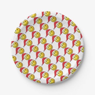 Funny Christmas Smiley Emoji Santa Hat Pattern Paper Plate