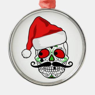 Funny Christmas Sugar Skull Metal Ornament