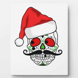 Funny Christmas Sugar Skull Plaque