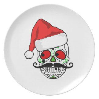 Funny Christmas Sugar Skull Plate
