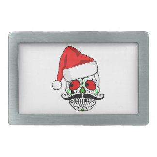 Funny Christmas Sugar Skull Rectangular Belt Buckle