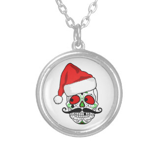 Funny Christmas Sugar Skull Silver Plated Necklace