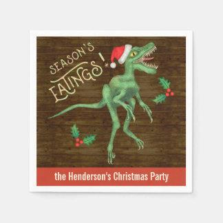 Funny Christmas Velociraptor Dinosaur Custom Name Paper Napkins