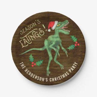 Funny Christmas Velociraptor Dinosaur Custom Name Paper Plate