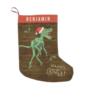 Funny Christmas Velociraptor Dinosaur Custom Name Small Christmas Stocking
