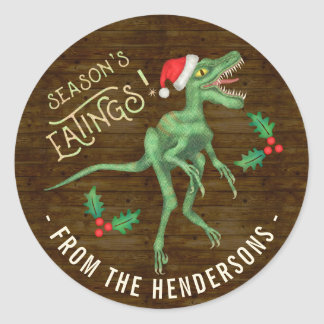 Funny Christmas Velociraptor Dinosaur Custom Text Classic Round Sticker
