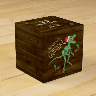 Funny Christmas Velociraptor Dinosaur Custom Text Favor Box