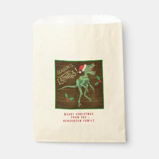 Funny Christmas Velociraptor Dinosaur Custom Text Favour Bag