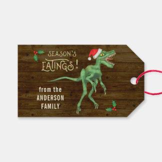Funny Christmas Velociraptor Dinosaur Custom Text Gift Tags
