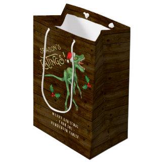 Funny Christmas Velociraptor Dinosaur Custom Text Medium Gift Bag