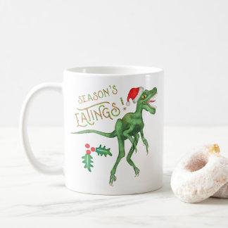 Funny Christmas Velociraptor Dinosaur Eatings Coffee Mug