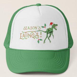 Funny Christmas Velociraptor Dinosaur Eatings Trucker Hat