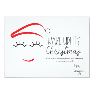 """Funny Christmas, """"Wake Up It's Christmas"""" Lashes Card"""