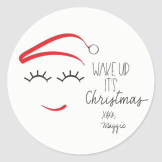 """Funny Christmas, """"Wake Up It's Christmas"""" Lashes Classic Round Sticker"""