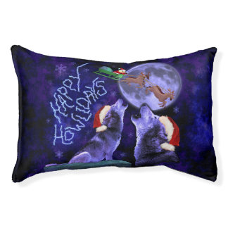Funny Christmas Wolf Pun Happy Howlidays Humor Pet Bed