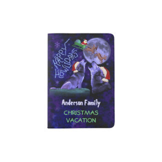 Funny Christmas Wolf Pun Howlidays Family Vacation Passport Holder