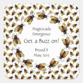 Funny Cicada Get a Buzz on Magicicada Party Square Sticker