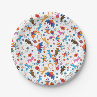 Funny circus cartoon animals pattern 7 inch paper plate