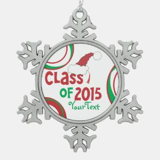 Funny Class of 2015 Santa Hat Graduation Tassel Pewter Snowflake Ornament