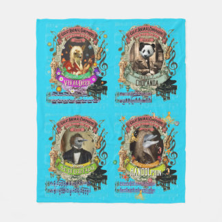 Funny Classical Music Great Animal Composer Series Fleece Blanket