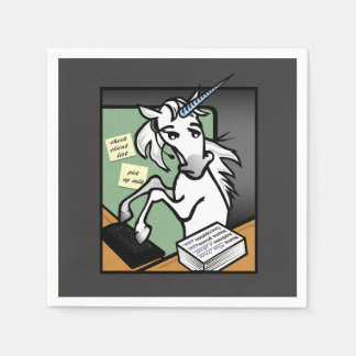 FUNNY CLERICAL RECEPTIONIST UNICORN PAPER NAPKINS