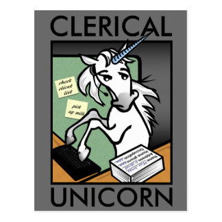 FUNNY CLERICAL UNICORN VERTICAL POSTCARD