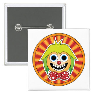 Funny clown 2 inch square button