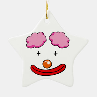 Funny clown face ceramic ornament