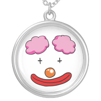 Funny clown face silver plated necklace
