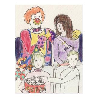 Funny Clown love & romance novelty art postcard