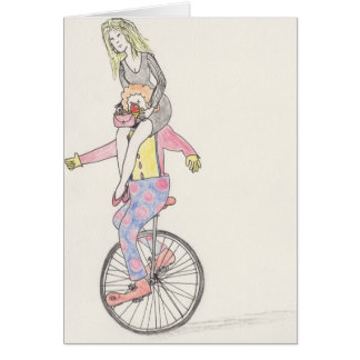 Funny Clown romance & love art greetings Card
