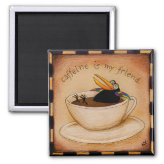 Funny coffee crow cartoon magnet