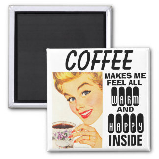 Funny Coffee Magnets, Retro Housewife Square Magnet