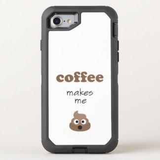 Funny coffee makes me poop emoji phrase OtterBox defender iPhone 8/7 case