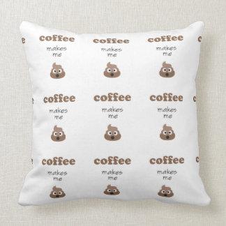 Funny coffee makes me poop emoji phrase throw pillow