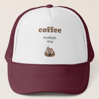 Funny coffee makes me poop emoji phrase trucker hat