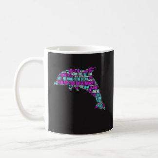Funny Coffee Mug Gift - Dolphin Word Cloud