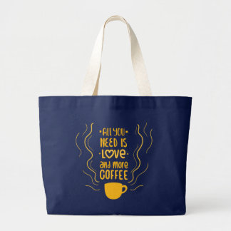 Funny Coffee Quote Caffeine Lover Addiction Quote Large Tote Bag