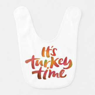 Funny Color It's Turkey Time Thanksgiving Dinner Bib