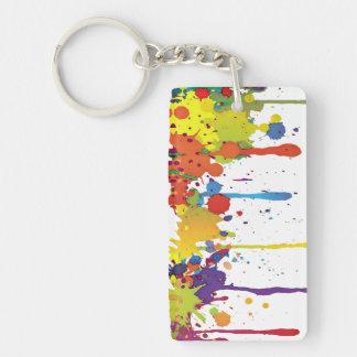 FUNNY COLOR SPLASH II + your backgr. & ideas Keychain