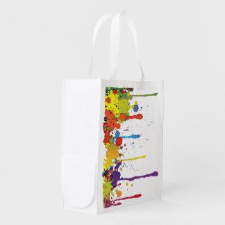 FUNNY COLOR SPLASH II + your backgr. & ideas Reusable Grocery Bag