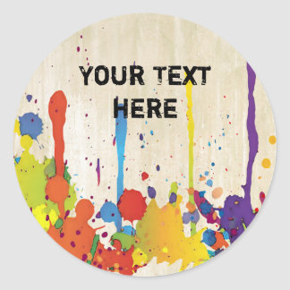FUNNY COLOR SPLASH II + your backgr. & text Classic Round Sticker