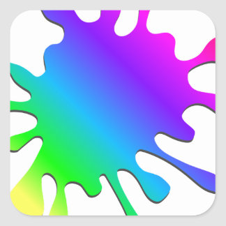 Funny Colorful Art Rainbow Paint Splatter Square Sticker