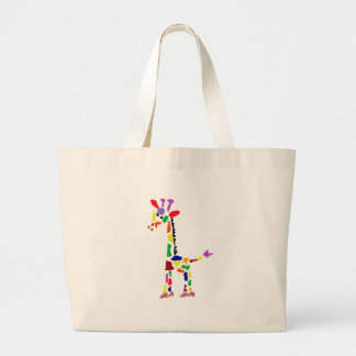 Funny Colorful Giraffe Abstract Art Large Tote Bag
