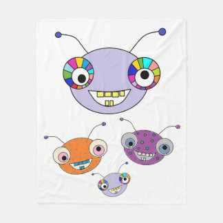 Funny Colorful Happy Alien Monsters Cute Fleece Blanket