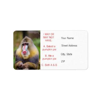 Funny Colorful Monkey Photo Pumpkin Pie Meme Label