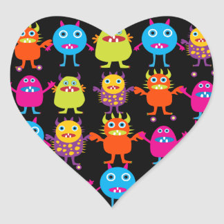 Funny Colorful Monster Party Creatures Characters Heart Sticker