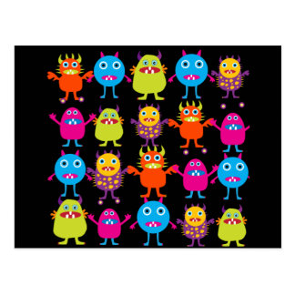 Funny Colorful Monster Party Creatures Characters Post Card